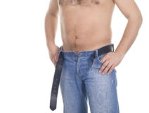 Hommes dans des jeans au-dessus de blanc Photo libre de droits