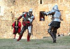 Hommes dans la bataille historique Photo stock