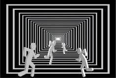 Hommes dans le tunnel. Concurrence de gens. Photographie stock libre de droits