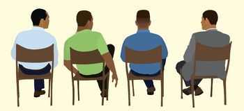 Hommes de couleur s'asseyant lors d'une réunion illustration stock