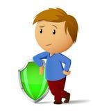 Hommes de dessin animé avec l'écran protecteur vert Images stock