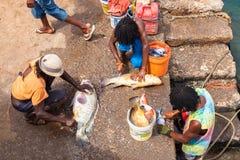 Hommes de Fisher dans le port de Pedra Lume dans des îles de sel - Cap Vert - photo libre de droits