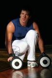 Hommes de forme physique avec l'haltère photographie stock libre de droits
