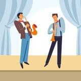 Hommes de jazz-band jouant le saxophone sur l'étape de vecteur Illustration de Vecteur