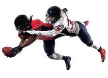 Hommes de joueurs de football américain d'isolement Photos stock
