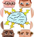 Hommes de séance de réflexion partageant large d'esprit d'isolement Image libre de droits
