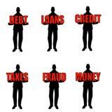 Hommes de silhouette retenant des mots Photo stock