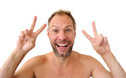 Hommes de sourire d'isolement sur le fond blanc Photographie stock libre de droits
