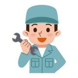 Hommes des vêtements de travail avec une clé Image libre de droits