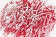 Hommes dessinés avec des coeurs sur le scintillement rouge sur un fond blanc Photos stock