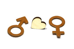 Hommes et femelle avec le symbole abstrait d'amour fait de cuir d'isolement sur le fond blanc Images libres de droits