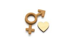 Hommes et femelle avec le symbole abstrait d'amour fait de cuir d'isolement sur le fond blanc Photos libres de droits
