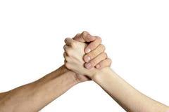 Hommes et femmes d'isolement de poignée de main Image libre de droits