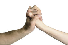 Hommes et femmes d'isolement de poignée de main Photographie stock libre de droits
