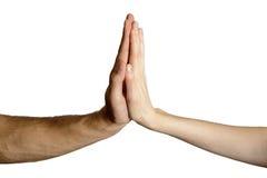 Hommes et femmes d'isolement de poignée de main Photo libre de droits