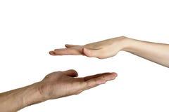 Hommes et femmes d'isolement de poignée de main Images stock