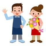 Hommes et femmes de fleuriste illustration libre de droits