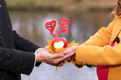 Hommes et femmes de paires de mains d'amants Photographie stock libre de droits