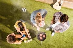 Hommes et femmes grillant la viande et buvant de la bière sur l'herbe verte au pique-nique Image stock