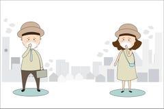 Hommes et masques de vêtements pour femmes pour empêcher la pollution atmosphérique dans la ville Comme la poussière, la fumée et illustration de vecteur