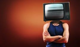 hommes faisants le coin TV rouge Photographie stock