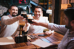Hommes heureux gais faisant tinter leurs verres Photographie stock libre de droits