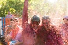 Hommes humides pendant le Haro Wine Festival Photos libres de droits