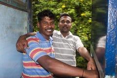 Hommes indiens dans le train Photos libres de droits