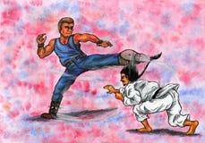 Hommes martiaux de combat d'artistes (la puissance des arts martiaux, 2014) Image libre de droits