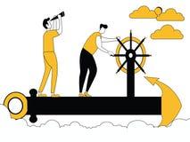 Hommes naviguant sur l'ancre de bateau illustration libre de droits
