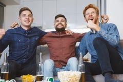 Hommes observant le sport sur l'unité de TV ensemble à la maison Photographie stock