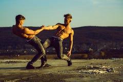 Hommes ou bodybuilders jumeaux beaux photo libre de droits