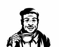 Hommes pluss âgé tenant des tasses de boissons illustrant le café photographie stock libre de droits