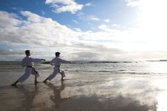 Hommes pratiquant le karaté sur la plage Image stock