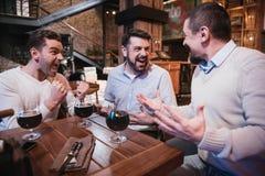 Hommes radieux heureux célébrant la victoire Image libre de droits