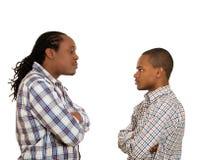 Hommes regardant l'un l'autre avec la haine, mépris Photographie stock libre de droits