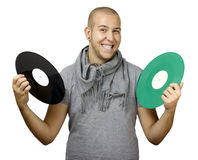 Hommes retenant des vinyles Photographie stock
