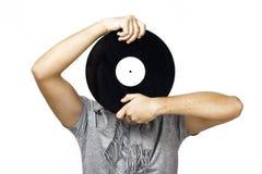 Hommes retenant le vinyle Images stock