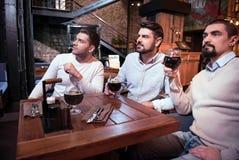 Hommes sérieux beaux regardant la TV Photo libre de droits