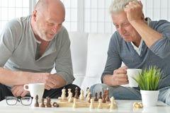 Hommes supérieurs jouant des échecs Photos libres de droits