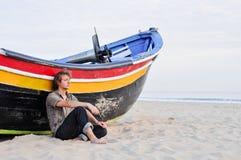 Hommes sur la plage Photos libres de droits