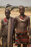 Hommes tribals dans la vallée d'Omo en Ethiopie, Afrique Image libre de droits