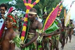 Hommes tribals de village du Vanuatu Photos libres de droits
