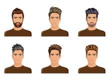 Hommes utilisés pour créer la coiffure de la barbe de caractère, mode d'hommes de moustache, image illustration stock