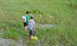 Hommes vietnamiens pêchant des poissons au début de la matinée photo libre de droits