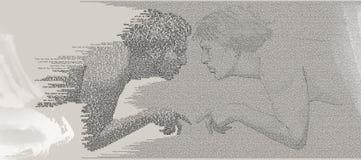 Homo-contact d'Ecce de connaissance d'individu Illustration de Vecteur