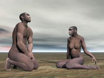 Homo erectus couple- 3D render. Male and female homo erectus bust sitting on the ground by grey cloudy day Stock Photo
