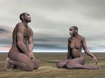 Homo erectus-3D het paar geeft terug Stock Foto