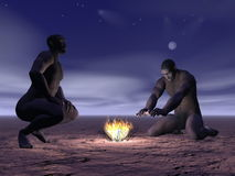 Homo erectus and fire - 3D render. Two homo erectus men around a small fire by night Stock Photography