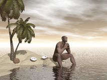 Homo erectus thinking alone - 3D render Royalty Free Stock Photography